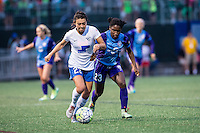 Allston, MA - Sunday July 31, 2016: Brooke Elby, Jasmyne Spencer during a regular season National Women's Soccer League (NWSL) match between the Boston Breakers and the Orlando Pride at Jordan Field.