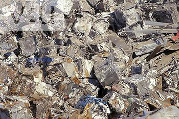 Compacted scrap metal ready for recycling.