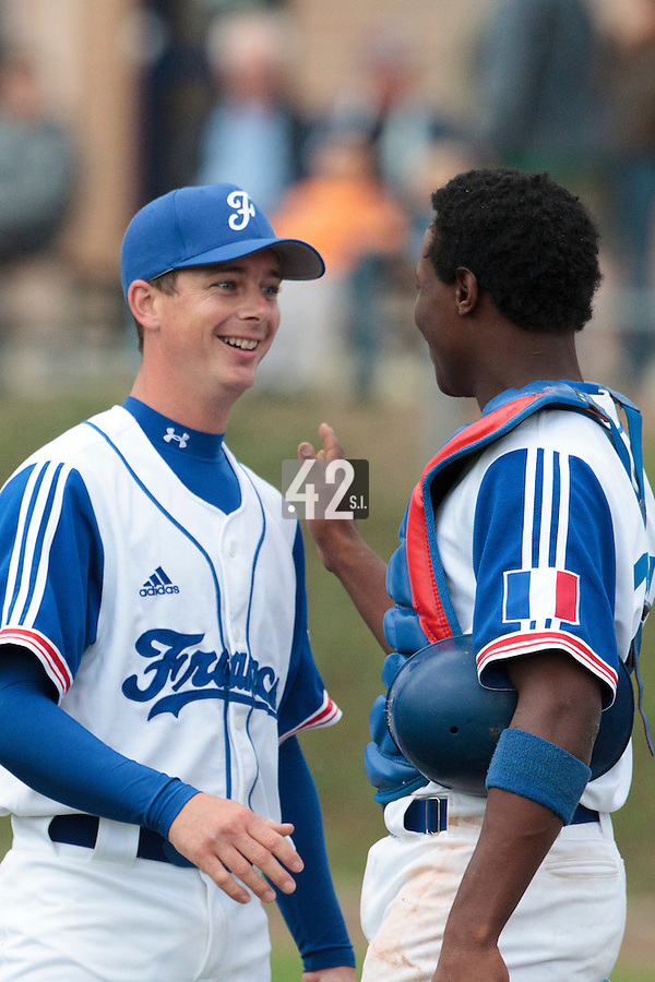 26 july 2010: Anthony Piquet of France is congratulated by Jean Antonio Samer during France 10-2 victory over Ukraine, in day 4 of the 2010 European Championship Seniors, in Neuenburg, Germany.
