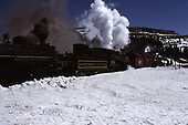 C&amp;TS #488 and #484 powering rotary snowplow #OY east of Chama.  Notice that #484's tender is lettered as &quot;20&quot; for &quot;Galveston, Harrisburg and San Antonio&quot; as it appeared in a movie.<br /> C&amp;TS  Cumbres Pass, CO