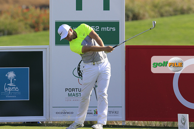 Lucas Bjerregaard (DEN) tees off the 11th tee during Thursday's Round 1 of the 2016 Portugal Masters held at the Oceanico Victoria Golf Course, Vilamoura, Algarve, Portugal. 19th October 2016.<br /> Picture: Eoin Clarke | Golffile<br /> <br /> <br /> All photos usage must carry mandatory copyright credit (&copy; Golffile | Eoin Clarke)