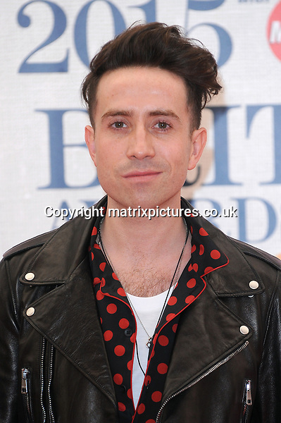 NON EXCLUSIVE PICTURE: PAUL TREADWAY / MATRIXPICTURES.CO.UK<br /> PLEASE CREDIT ALL USES<br /> <br /> WORLD RIGHTS<br /> <br /> English presenter Nick Grimshaw attending the BRIT Awards 2015 at the O2 Arena, in London.<br /> <br /> FEBRUARY 25th 2015<br /> <br /> REF: PTY 15627