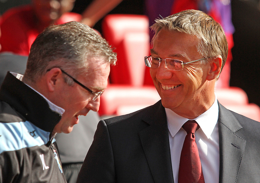 Aston Villa's Manager Paul Lambert and Southampton's Manager Nigel Adkins before kick off...Football - Barclays Premiership - Southampton v Aston Villa - Saturday 22nd September 2012 - St Mary's Stadium - Southampton..