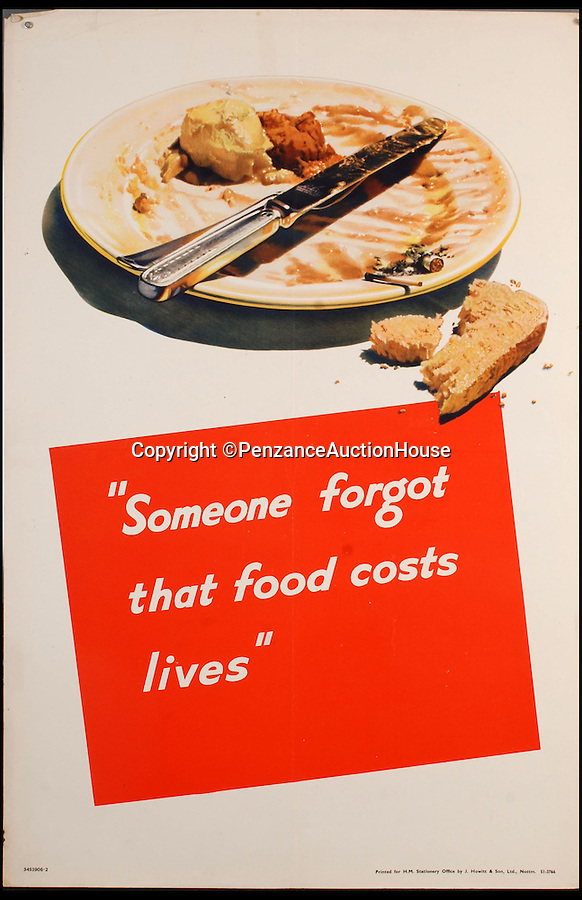 "BNPS.co.uk (01202 558833)<br /> Pic: PenzanceAuctionHouse/BNPS<br /> <br /> ***Please Use Full Byline***<br /> <br /> Lot 104 - 'Someone forgot that food costs lives'.<br /> <br /> A fascinating archive of iconic World War Two recruiting posters - some which have never been seen before - has emerged for sale for £10,000.<br /> <br /> Among the 150 posters up for grabs are three thought never to have made it into production featuring Adolf Hitler, Nazi spin doctor Joseph Goebbels and Luftwaffe chief Hermann Goerring.<br /> <br /> It is thought the designs were blocked from print because Brits might not have recognised the enemy leaders and might have taken the messages to ""take time off"" literally.<br /> <br /> Other highlights include a copy of artist Abram Games' 'Blonde Bombshell' poster which was controversially withdrawn from circulation because it was deemed too glamorous. <br /> <br /> The posters, said to be in mint condition, will be sold in 91 separate lots at Penzance Auction House in Cornwall on November 6."