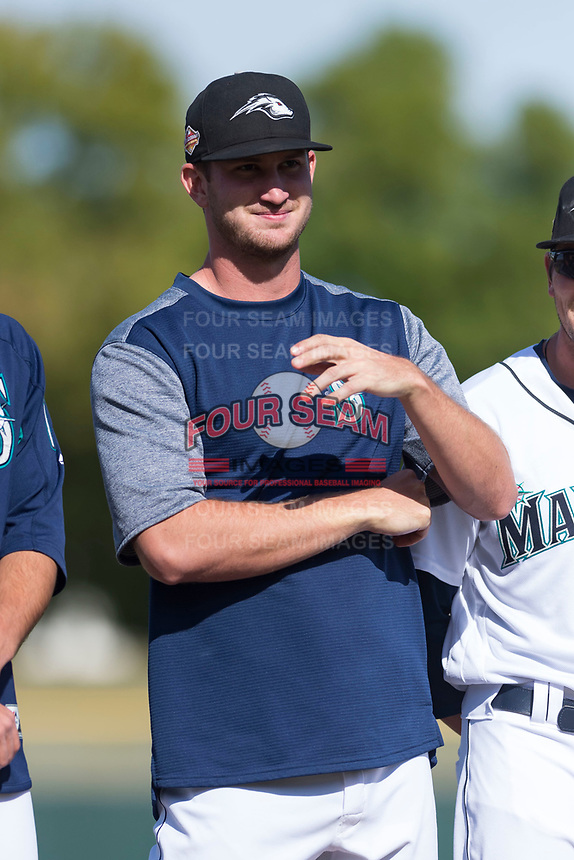 Peoria Javelinas pitcher Matt Walker (31), of the Seattle Mariners organization, during player introductions before the Arizona Fall League Championship game against the Salt River Rafters at Scottsdale Stadium on November 17, 2018 in Scottsdale, Arizona. Peoria defeated Salt River 3-2 in 10 innings. (Zachary Lucy/Four Seam Images)
