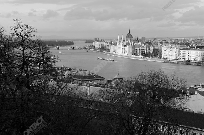 The parliament building and the Pest side of Budapest viewed from Castle Hill, Budapest, Hungary, March 23, 2008