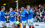 15.12.2019 Motherwell v Rangers: Objects rain down on the Rangers players after Alfredo Morelos celebrates his goal at the Motherwell corner