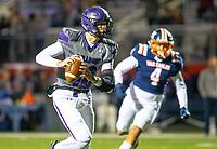 Fayetteville quarterback Hank Gibbs passes the ball against Rogers Heritage at Gates Stadium, Rogers, AR on November 1, 2019 / Special to NWA Democrat Gazette David Beach