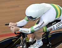 CALI – COLOMBIA – 28-02-2014: Amy Cure de Australia durante la prueba de Persecucion Individual Damas en el Velodromo Alcides Nieto Patiño, sede del Campeonato Mundial UCI de Ciclismo Pista 2014. / Amy Cure of Australia during the test of the Women´s Individual Persuit at the Alcides Nieto Patiño Velodrome, home of the 2014 UCI Track Cycling World Championships. Photos: VizzorImage / Luis Ramirez / Staff.