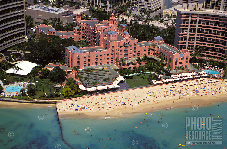 Aerial view of the Royal Hawaiian Hotel on the beach in Waikiki. The hotel, built on the site of the summer home of  the Kamehameha kings, opened in 1927.