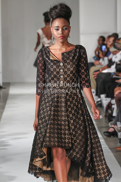 Model walks runway in an outfit from the Hope Wade Designs Spring Summer 2015 collection by Hope Wade, during Fashion Week Brooklyn Spring Summer 2015.