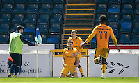 Mark Randall (8) of Newport County celebrates his goal during the Sky Bet League 2 match between Wycombe Wanderers and Newport County at Adams Park, High Wycombe, England on 2 January 2017. Photo by Andy Rowland.