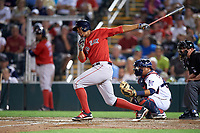 Boston Red Sox shortstop Xander Bogaerts (2) at bat in front of catcher Juan Centeno during a Spring Training game against the Minnesota Twins on March 16, 2016 at Hammond Stadium in Fort Myers, Florida.  Minnesota defeated Boston 9-4.  (Mike Janes/Four Seam Images)