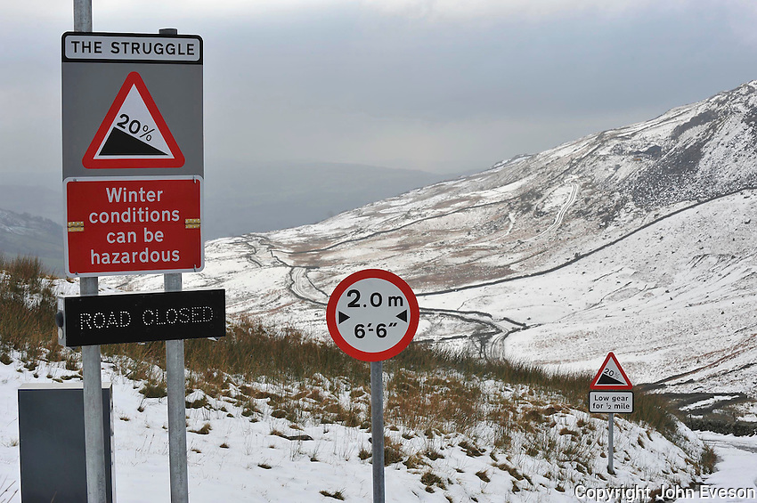 Road signs, Kirkstone Pass, Lake District, Cumbria. The Struggle.