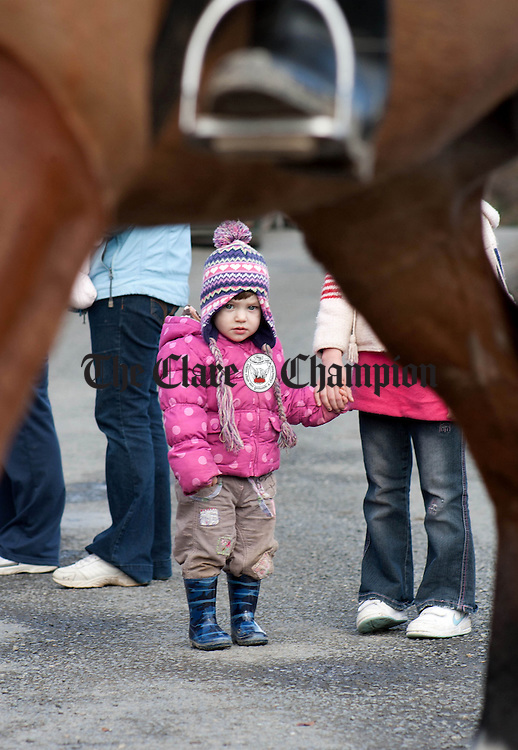 090313.2 year old Maeve Walsh from Dublin at Clonusker Church Scariff Co Clare to watch the East Clare Harriers on their last hunt of the season on Saturday.Pic Arthur Ellis.