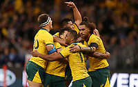 Australia players celebrate after Kurtley Beale (15) scores a try during the Rugby Championship match between Australia and New Zealand at Optus Stadium in Perth, Australia on August 10, 2019 . Photo: Gary Day / Frozen In Motion