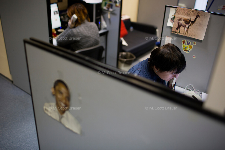 Moskovskii Komsomolets reporters work in their cubicles in the newspaper's offices in Moscow, Russia.
