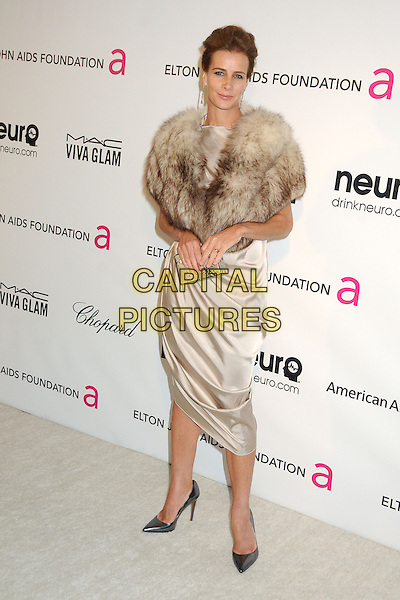 Rachel Griffiths.21st Annual Elton John Academy Awards Viewing Party held at West Hollywood Park, West Hollywood, California, USA..February 24th, 2013.oscars full length beige cream silk satin dress brown fur wrap .CAP/ADM/BP.©Byron Purvis/AdMedia/Capital Pictures.