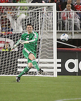 New England Revolution goalkeeper Bobby Shuttleworth (34) kicks a ball deep into midfield.  Portugal's Benfica beat the New England Revolution, 4-0 in a friendly match at Gillette Stadium on May 19, 2010