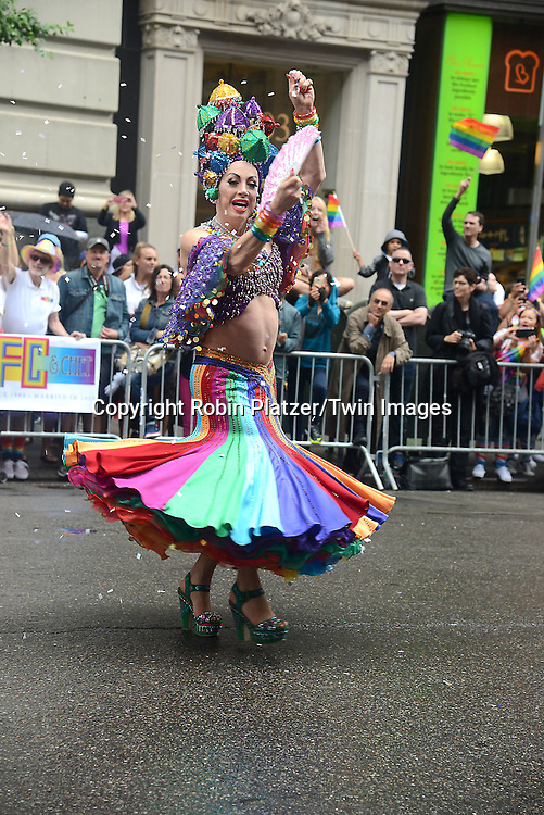 Marcher attends the 2015 NYC Pride March on June 28, 2015 on Fifth Avenue in New York City. <br /> <br /> photo by Robin Platzer/Twin Images<br />  <br /> phone number 212-935-0770