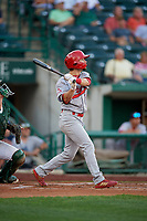 Peoria Chiefs Brandon Riley (5) at bat during a Midwest League game against the Fort Wayne TinCaps on July 17, 2019 at Parkview Field in Fort Wayne, Indiana.  Fort Wayne defeated Peoria 6-2.  (Mike Janes/Four Seam Images)