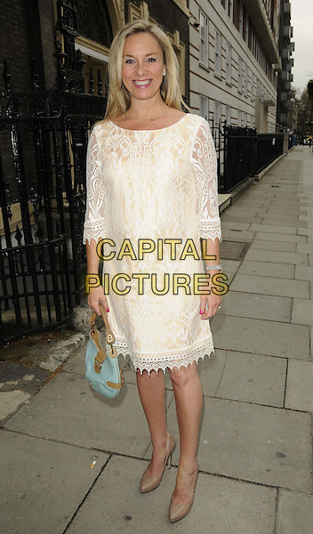 Tamzin Outhwaite.The Twiggy for M&S Woman 1st collection of 2012 launch party, Home House, Portman Square, London, England..April 12th, 2012.full length white dress lace pregnant.CAP/CAN.©Can Nguyen/Capital Pictures.