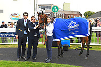 Connections of Yourtimeisnow in the winners enclosure after winning The Shadwell Dick Poole Fillies' Stakes during the Bathwick Tyres & EBF Race Day at Salisbury Racecourse on 6th September 2018