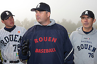 24 October 2010: Robin Roy, Team manager of Rouen, is seen next to Boris Marche and Francois Colombier during Rouen 5-1 win over Savigny, during game 4 of the French championship finals, in Rouen, France.