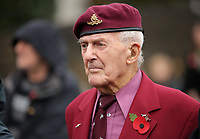 Pictured: A veteran observes the two minutes silence. Saturday 11 November 2017<br />Re: Armistice Day, two minutes were observed to mark remembrance at Castle Square in Swansea, Wales, UK.