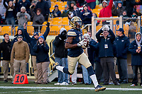 Pitt wide receiver Dontez Ford scores on a 79-yard touchdown catch. The Pitt Panthers defeated the Syracuse Orange 76-61 at Heinz Field in Pittsburgh, Pennsylvania on November 26, 2016.