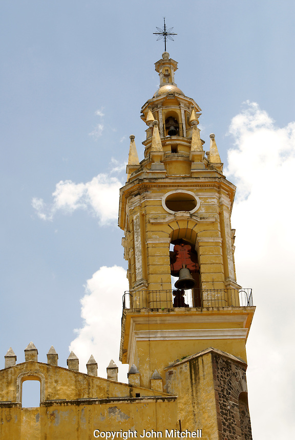 Steeple of the Templo de San Gabrial in the Ex-Convento de San Gabriel, Cholula, Puebla, Mexico. Cholula is a UNESCO World Heritage Site.