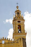 Steeple of the Templo de San Gabrial in the Ex-Convento de San Gabriel, Cholula, Puebla, Mexico. Cholula is a UNESCO World Heritage Site.
