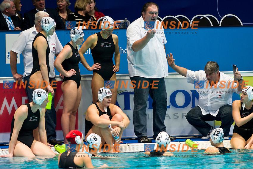 Eindhoven , Netherlands (Netherlands ) 28/1/2012.LEN European  Water Polo Championships 2012.Day 13 - Women.Hungary  (White) - Russia  (Blue)..HUN.1 BOLONYAI Flora.2 CSABAI Dora.3 ANTAL Dora.4 KISTELEKI Hanna Anna.5 SZUCS Gabriella.6 T AKACS Orsolya.7 DRAVUCZ Rita.8 KESZTHEL YI Rita.9 TOTH Ildiko.10 BUJKA Barbara.11 ILLES Anna Krisztina.12 MENCZINGermany  Kata Maria.13 GANGL Edina..Photo Insidefoto / Giorgio Scala