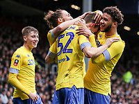 Leeds United's Aapo Halme celebrates scoring his side's first goal with his team mates<br /> <br /> Photographer Andrew Kearns/CameraSport<br /> <br /> The Emirates FA Cup Third Round - Queens Park Rangers v Leeds United - Sunday 6th January 2019 - Loftus Road - London<br />  <br /> World Copyright &copy; 2019 CameraSport. All rights reserved. 43 Linden Ave. Countesthorpe. Leicester. England. LE8 5PG - Tel: +44 (0) 116 277 4147 - admin@camerasport.com - www.camerasport.com