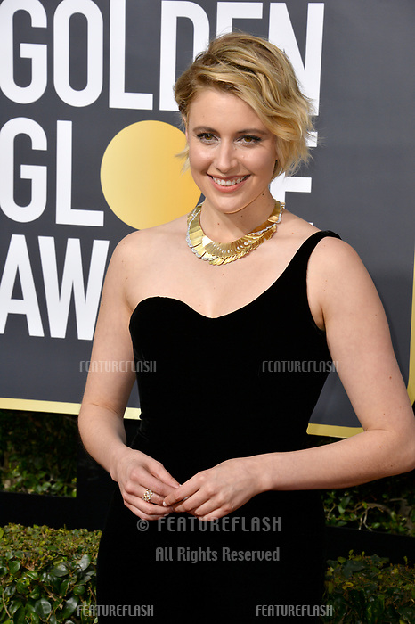 Greta Gerwig at the 75th Annual Golden Globe Awards at the Beverly Hilton Hotel, Beverly Hills, USA 07 Jan. 2018<br /> Picture: Paul Smith/Featureflash/SilverHub 0208 004 5359 sales@silverhubmedia.com