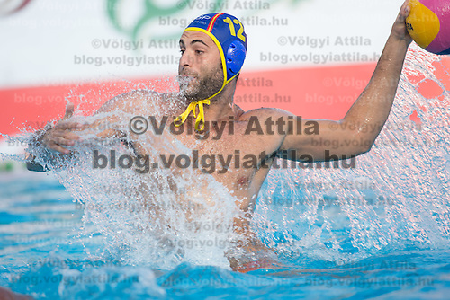 Javier Garcia of Spain throws the ball during the Vodafone Waterpolo Cup in Budapest, Hungary on July 15, 2012. ATTILA VOLGYI