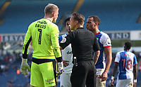 Blackburn Rovers' Elliott Bennett argues with Barnsley's Adam Davies<br /> <br /> Photographer Rachel Holborn/CameraSport<br /> <br /> The EFL Sky Bet Championship - Blackburn Rovers v Barnsley - Saturday 8th April 2017 - Ewood Park - Blackburn<br /> <br /> World Copyright &copy; 2017 CameraSport. All rights reserved. 43 Linden Ave. Countesthorpe. Leicester. England. LE8 5PG - Tel: +44 (0) 116 277 4147 - admin@camerasport.com - www.camerasport.com