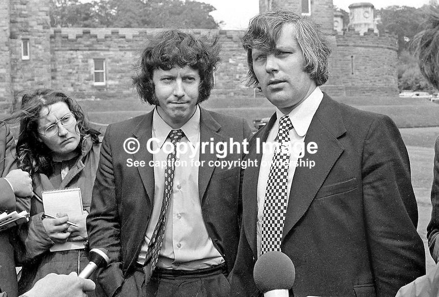 Glenn Barr, chairman (right), and Jim Smyth, press officer, both of the Ulster Workers' Council, speak to the media after their meeting with Merlyn Rees, Secretary of State for N Ireland. 197408070434-8a<br /> <br /> Copyright Image from Victor Patterson, 54 Dorchester Park, Belfast, UK, BT9 6RJ<br /> <br /> t1: +44 28 9066 1296 (from Rep of Ireland 048 9066 1296)<br /> t2: +44 28 9002 2446 (from Rep of Ireland 048 9002 2446)<br /> m: +44 7802 353836<br /> <br /> e1: victorpatterson@me.com<br /> e2: victorpatterson@gmail.com<br /> <br /> The use of any of my copyright images is subject to my Terms &amp; Conditions.<br /> <br /> It is IMPORTANT that you familiarise yourself with them. They are available on my website, victorpatterson.com.<br /> <br /> None of my copyright images may be used on the Internet unless they are visibly watermarked, i.e. &copy; Victor Patterson within the body of the image. Metadata denoting my copyright must NOT be deleted. <br /> <br /> Web use is extra at currently recommended NUJ rates.
