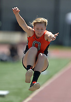 Apr 11, 2015; Los Angeles, CA, USA; Olivia Baker of Occidental College places fifth in the womens long jump at 15-6 (4.72m) in a SCIAC multi dual meet at Occidental College. Photo by Kirby Lee