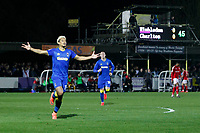 Lyle Taylor of AFC Wimbledon scores during the Sky Bet League 1 match between AFC Wimbledon and Charlton Athletic at the Cherry Red Records Stadium, Kingston, England on 10 April 2018. Photo by Carlton Myrie / PRiME Media Images.