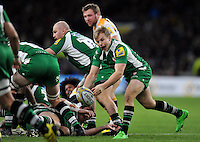 Scott Steele of London Irish passes the ball. Aviva Premiership match, between London Irish and Wasps on November 28, 2015 at Twickenham Stadium in London, England. Photo by: Patrick Khachfe / JMP