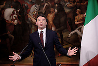 Roma, 23 Settembre 2016<br /> Matteo Renzi.<br /> Palazzo Chigi.<br /> Conferenza stampa sulla ricostruzione nelle zone colpite dal Terremoto in Centro Italia il 24 Agosto 2016.<br /> Press conference on reconstruction in the areas affected by the earthquake in Central Italy August 24, 2016.