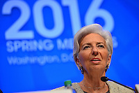 Washington, DC - April 14, 2016: Christine Lagarde, Managing Director of the International Monetary Fund, speaks to members of the media at a press availability at the IMF headquarters in the District of Columbia, April 14, 2016, during the IMF/World Bank Spring Meetings.  (Photo by Don Baxter/Media Images International)