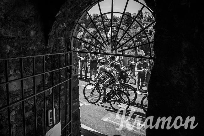 Enrico &amp; Enrico / Gasparotto (ITA/Bahrain Merida) &amp; Barbin (ITA/Bardiani-CSF) up the steepest section towards the Citt&agrave; Alta in Bergamo<br /> <br /> Stage 15: Valdengo &rsaquo; Bergamo (199km)<br /> 100th Giro d'Italia 2017
