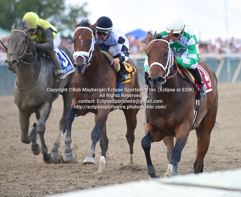 Favorite Tale (no. 1), ridden by John Bisono and trained by Guadalupe Preciado, wins the 24th running of the grade 3 Gallant Bob Stakes for three year olds on September 20, 2014 at Parx Racing in Bensalem, Pennsylvania.  (Bob Mayberger/Eclipse Sportswire)