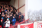 Bristol City 1 Middlesbrough 0, 16/01/2016. Ashton Gate, Championship. Bristol City supporters pictured in the Atyeo Stand during the game between managerless Bristol City and Championship leaders Middlesbrough. Ashton Gate is located in the south-west of the city, it currently has an all-seated capacity of 16,600, due to redevelopment, which will increase to a capacity of 27,000 by the start of the 2016-17 season. Bristol City won the game one goal to nil with a headed injury time winner. Photo by Simon Gill