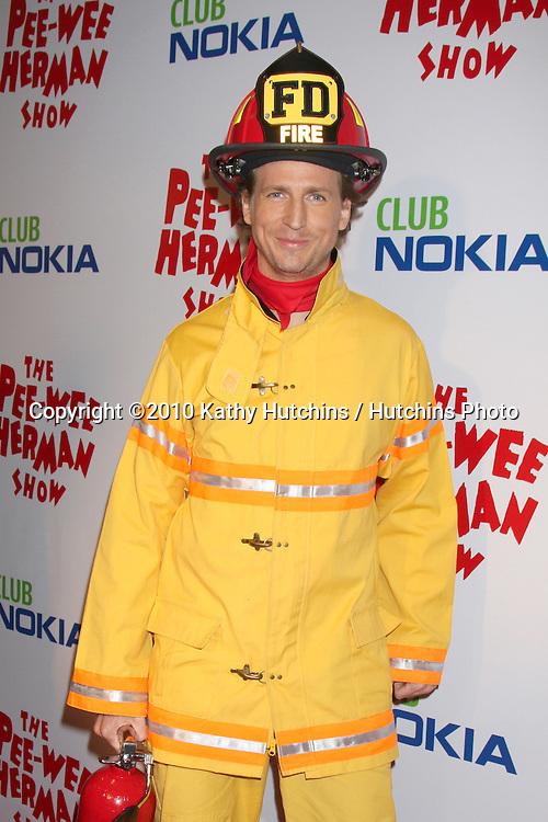 "Josh Meyers as Firefighter.arriving at the ""The Pee Wee Herman Show"" Opening Night..Club Nokia.Los Angeles, CA.January 20, 2010.©2010 Kathy Hutchins / Hutchins Photo...."