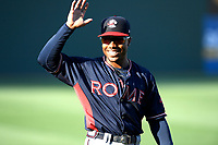 Center fielder Justin Dean (5) of the Rome Braves, a local Mauldin High School grad, waves to family and friends in the stands before a game against the Greenville Drive on Friday, June 28, 2019, at Fluor Field at the West End in Greenville, South Carolina. Rome won, 4-3. (Tom Priddy/Four Seam Images)