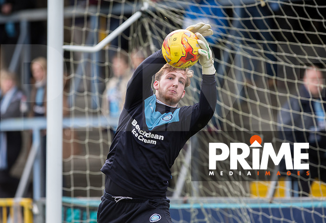Goalkeeper Alex Lynch of Wycombe Wanderers warms up during the Sky Bet League 2 match between Wycombe Wanderers and Leyton Orient at Adams Park, High Wycombe, England on 23 January 2016. Photo by Andy Rowland / PRiME Media Images.