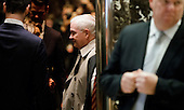 Former United States Secretary of Defense Robert Gates (C) enters an elevator in the lobby of Trump Tower in New York, New York, USA, 02 December 2016.<br /> Credit: Justin Lane / Pool via CNP